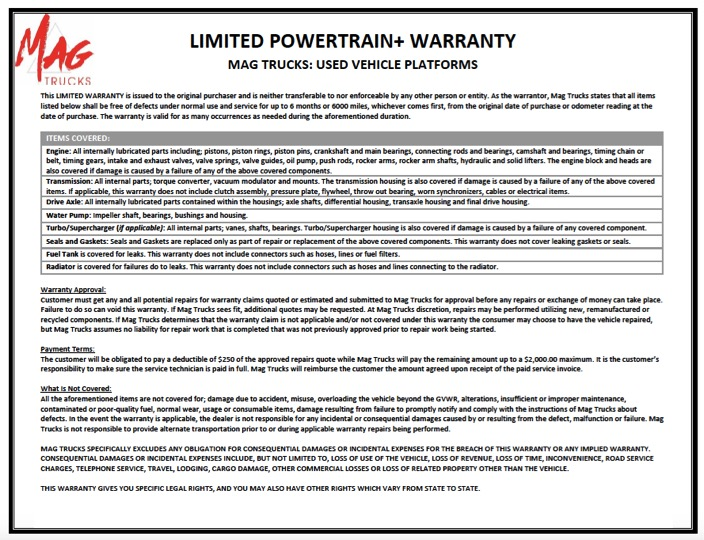 What's in an ISP Contractor Truck Warranty?